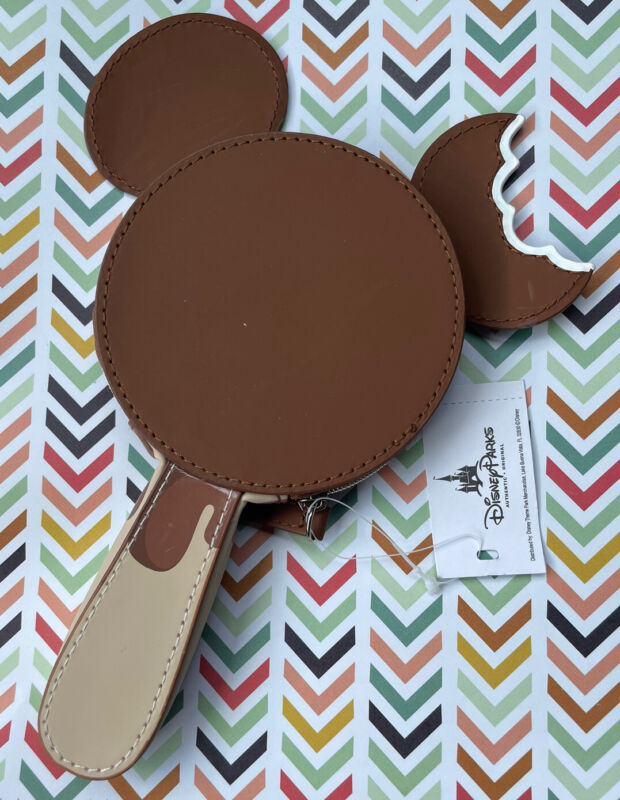 NEW Disney Parks Mickey Mouse Ice Cream Bar Coin Purse Bag Pouch Zipper Brown