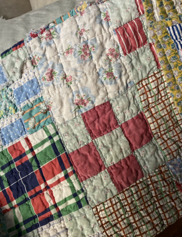 "Antique Patchwork Quilt ca 1950's.hand Pieced & Quilted 74"" X  81"""