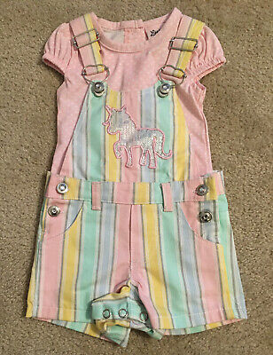 Infant Baby Girl 3-6 Months Overalls Shorts T-Shirt Set Gently Used/VGC!! Cute!