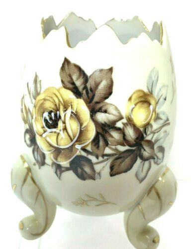 Vintage Napco 3 Legged Footed Egg Cup Vase Hand Painted Floral Design 3H3199/M