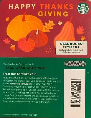 "2020 STARBUCKS CHRISTMAS ""HAPPY THANKSGIVING"" GIFT CARD #6184 NO VALUE MINT"