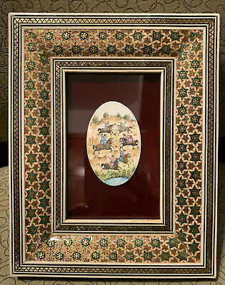 Persian Hand Painted Horse Scene Bone Khatam Marquetry Ornate Frame Inlaid H