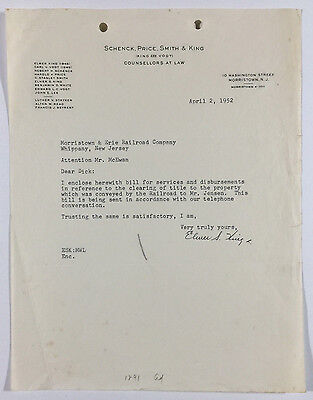 Vintage Letterhead, Law Firm To Morristown & Erie Railroad, Morristown NJ 1952
