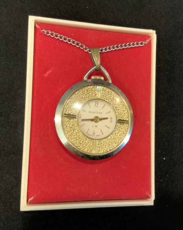Vintage Binatone pendant watch in box. not working. Swiss made
