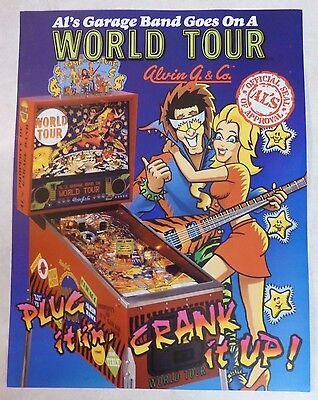 """1992 Alvin G. & Co. """"World Tour"""" Pinball Machine Flyer/Brochure Original"""