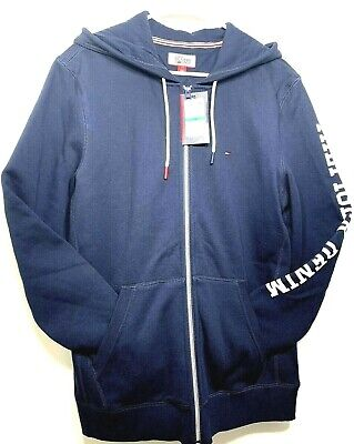 NWT Tommy Hilfiger Mens Navy graphic Jacket Pullover Hoodie  Sz L retail $99