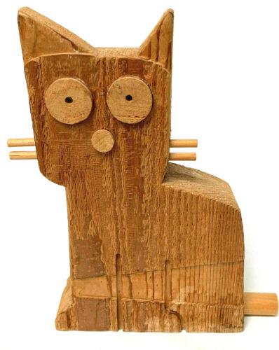 Wooden Cat Primitive Hand Carved Signed David Sloan