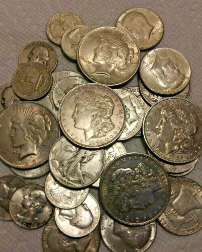$10 Face Value 90% Silver Coins Dollars Halves Quarters Full Dates No Dimes