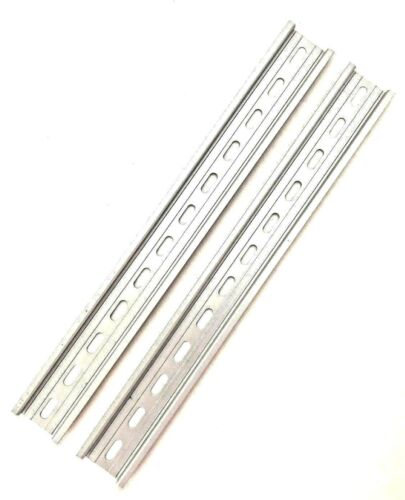 "2 Pieces DIN Rail Slotted Aluminum RoHS 12"" Inches Long 35mm 7.5mm T&G"