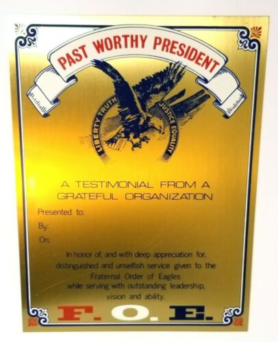 Fraternal Order of the Eagle Past Worthy President Satin Brass Blank Plaque RARE