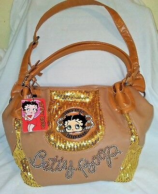 BETTY BOOP NWT PURSE TAN LITTLE BLING SEQUINS LARGE