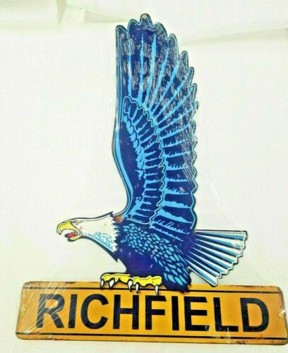 "22"" Richfield gas oil company station USA steel metal american Eagle AD sign +"
