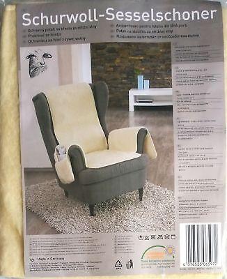 Schurwoll Sesselschoner Beige  ca.160 x 50 cm Sesselüberwurf mit Taschen