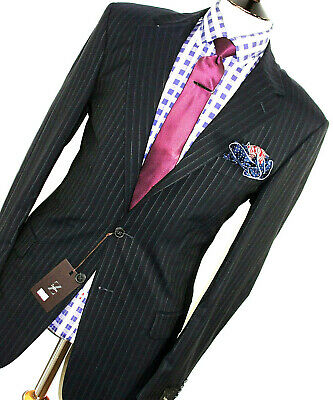 BNWT LUXURY MENS ERMENEGILDO ZEGNA STRIPEY DARK NAVY CLASSIC SUIT 42R W36