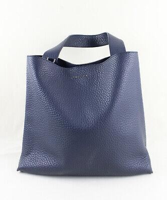 Orciani Navy Blue Pebbled Leather Tote Handbag Shoulder Bag $479