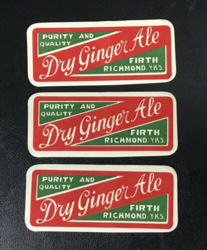 Lot (3) Vintage Rare Firth Dry Ginger Ale Label Richmond North Yorkshire England