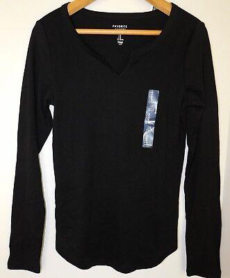 NWT GAP Women's Favorite LS T-Shirt Notch Neck Black XS S Free Shipping NEW