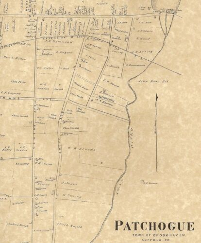 Patchogue NY 1873  Map with Homeowners Names Shown