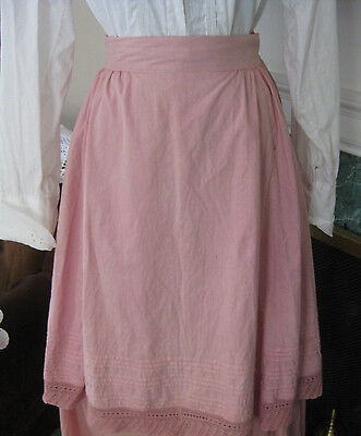 Antique Edwardian VICTORIAN ROSE PINK Apron Handmade Lace Pintuck FULL SKIRT