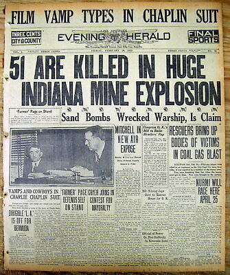 1925 headline newspaper 51 miners killed in SULLIVAN Indiana COAL MINE DISASTER