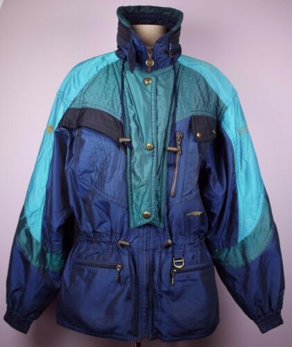 Vtg DESCENTE Sz 10 Blue Green Teal Ski Snowboard Coat Jacket Bronze Lined Women