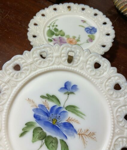 """Vintage 2 Hand Painted Milk Glass Plates FLORAL MORNING GLORY Reticulated 7 1/2"""""""