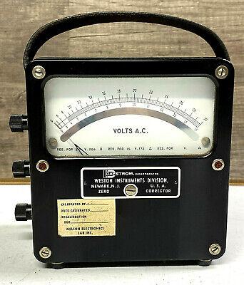 Vintage Antique Weston Model 433 Ac Voltmeter Test Equipment Steampunk Working