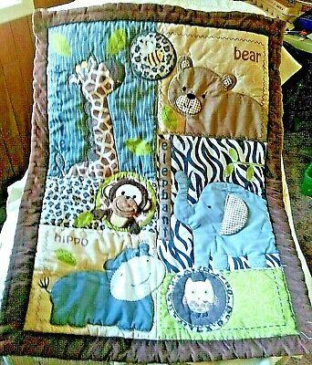 Cuddle Time Baby Nursery Crib Comforter Blanket Brown Jungle Animal Print Bear ()
