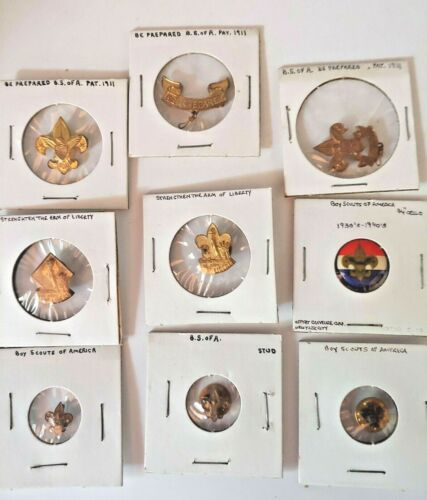 9 OLD Boy Scouts BSA Pins Buttons Be Prepared Strengthen Arm of Liberty B-P1