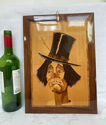 Retro Vintage Mid-Century Wooden Marquetry Picture Portrait of a Clown 36 x 26cm