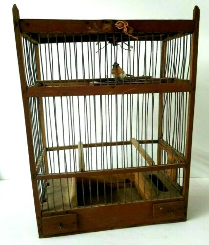 "Antique Bird Cage Lightweight Brown Wood & Metal 15 1/2"" tall Handmade Bird Cage"
