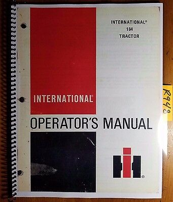 Ih International Harvester 184 Tractor Owner Operator Manual 1 096 121 R2 378