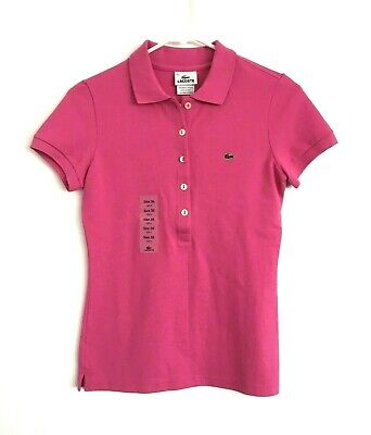 NWT LACOSTE Women's Pique POLO SHIRT Short Sleeve Pink Size 36 / 4 New