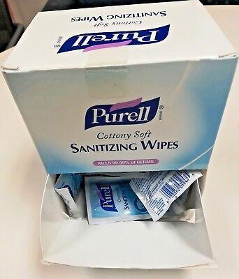 """Purell Hand Sanitizing Moisturizing Wipes 7"""" x 5"""" Sealed 40 Packets Travel On Go"""