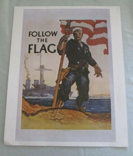"Vintage Navy Recruiting Poster - ""Follow the Flag"" - Vietnam Era"