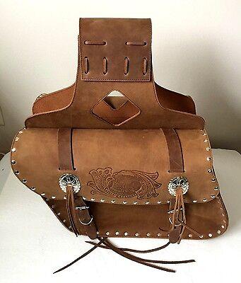 ( New genuine brown cowhide leather motorcycle saddle bags 13