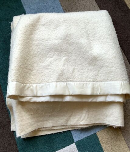 Old Ivory Blanket 90x90 Satin Binding Wool? Acrylic? No Tags Vintage Cutter