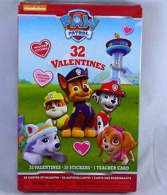Valentines Day Cards W/ Stickers & Teacher Card School Party (Paw Patrol Valentines)