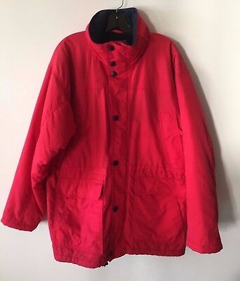 Clipper Nautical Jacket Full Zip Snap Nylon Fleece Lined Hooded Coat Mens Large