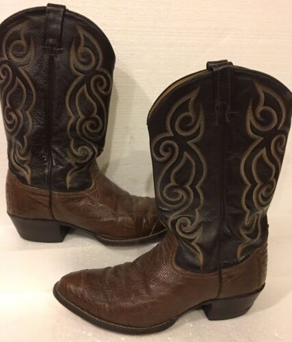 Tony, Lama, Brown, Ostrich, Leather, Western, Cowboy, Boots, Mens, 13, B, Embroidered, 03233