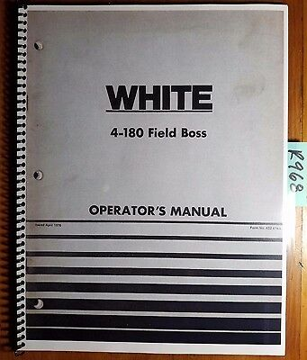 Wfe White 4-180 Field Boss Tractor Owners Operators Manual 432 414a 476
