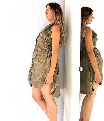 Karen Millen Parachute Asymmetric Shirt Dress Brown Striped Steampunk 6 8 10