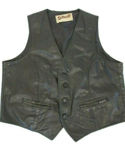 VTG Schott N.Y.C. Black Leather Motorcycle Vest Outerwear Sportswear, 4 Button S