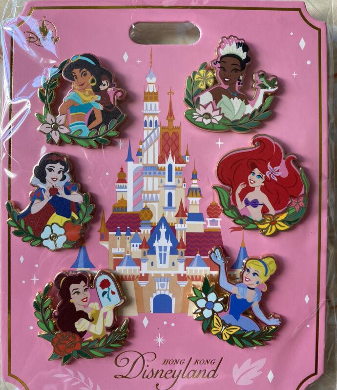 HKDL Hong Kong Disney Land New Castle Pin - Princess Pin Set Ariel Jasmine Tina