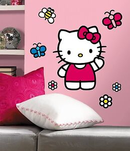 WORLD of HELLO KITTY BiG Wall Mural Stickers NEW Vinyl Room Decor Decals Girls
