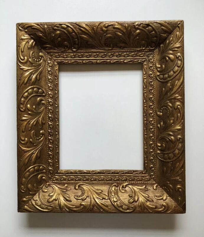 "Beautiful Antique Gold Frame (Pea Pod & Leaf Motif) - Holds 8""x 10"" Image"
