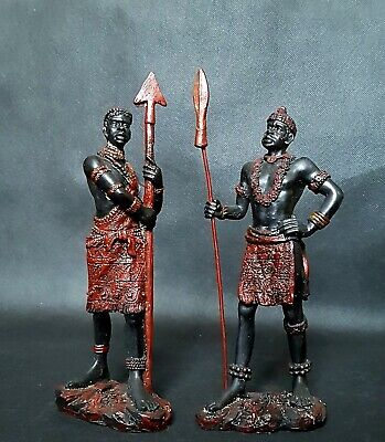 Pair Vintage Large 22cms African Tribal Wood Folk Art Figurines Statues Lot