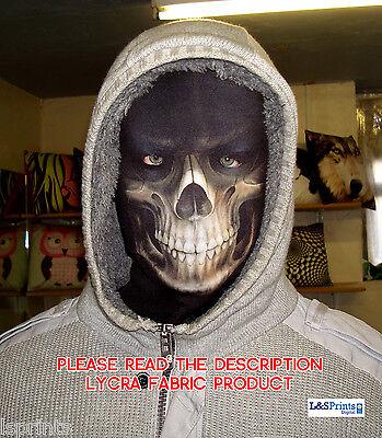Halloween Face Mask - Scary Horror Grim Reaper Fancy Dress - Lycra Fabric Snood - Halloween Grim Face