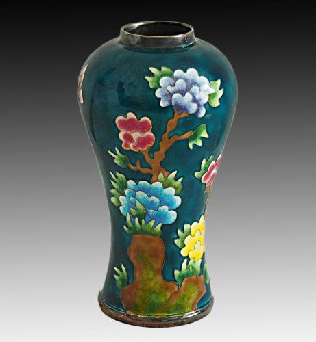 KOREAN 99% Silver Cloisonne Enamel Flowers Butterfly Vase