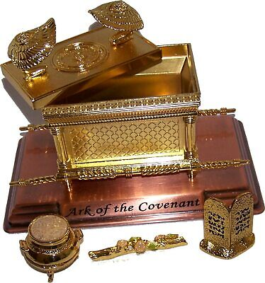 The Ark of The Covenant Gold Plated&Ark Contents Replica Aaron Rod Tablets Manna